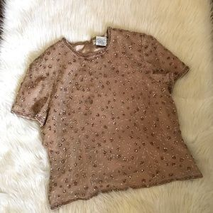 Vintage Adrianna Papell Occasions Sequin Zip Top